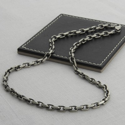 Mens Sterling Silver Anchor Chain Style Necklace - Crafted By Birthstone Design™