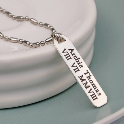 Mens Personalised Silver Vertical Bar Necklace - Crafted By Birthstone Design™
