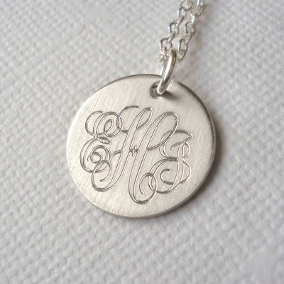 Mens Classic Sterling Silver Monogram Necklace - Crafted By Birthstone Design™