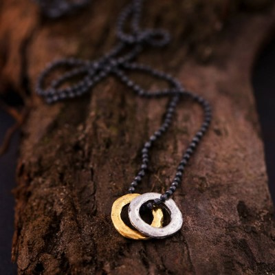 Mens Mixed Metal Eternity Necklace - Crafted By Birthstone Design™