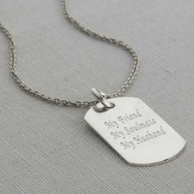 Personalised Polished Sterling Silver Dog Tag Necklace - Crafted By Birthstone Design™