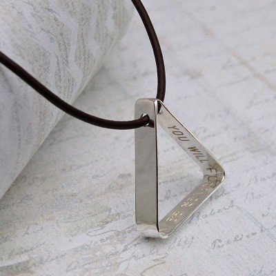 Mens Secret Message Silver Triangle Necklace - Crafted By Birthstone Design™