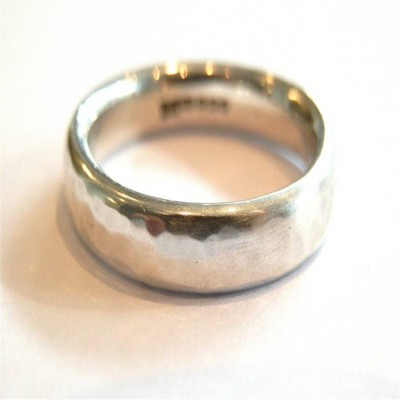 Mens Silver Hammered Ring - Crafted By Birthstone Design™
