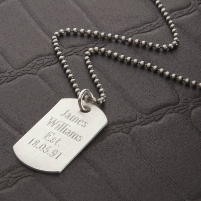 Personalised Brushed Sterling Silver Dog Tag Necklace - Crafted By Birthstone Design™
