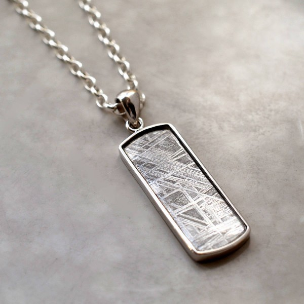 Meteorite And Silver Rectangular Necklace - Crafted By Birthstone Design™