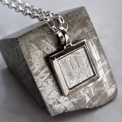 Meteorite And Silver Square Necklace - Crafted By Birthstone Design™