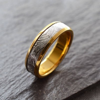 Meteorite Inlaid Gold Plated Ring - Crafted By Birthstone Design™