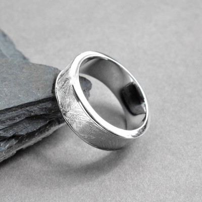 Meteorite Inlaid Silver Ring - Crafted By Birthstone Design™