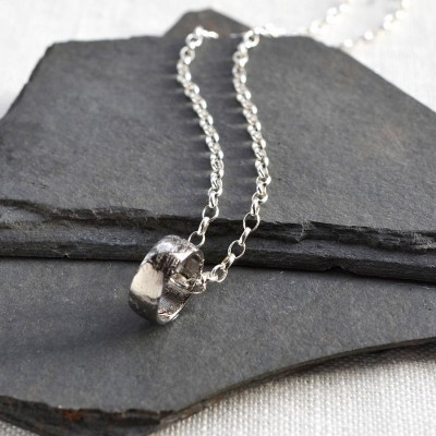 Meteorite Ring Necklace - Crafted By Birthstone Design™