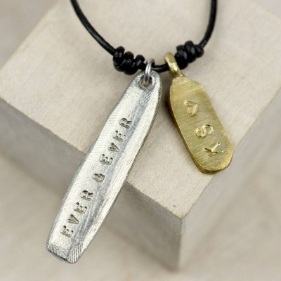 Personalised Mixed Metal Tag Necklace - Crafted By Birthstone Design™