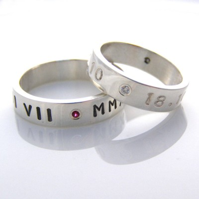 Silver Personalised Ring For Couple - Crafted By Birthstone Design™