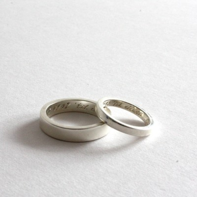Pair Of Rings, Personalised Siver Bands - Crafted By Birthstone Design™
