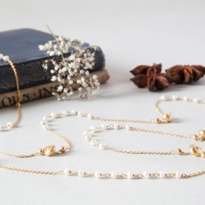 Pearls And Gold Beads Long Layering Chain Necklace - Crafted By Birthstone Design™