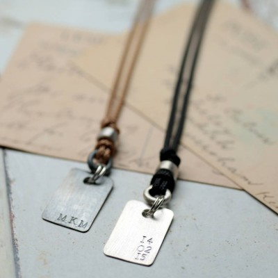 Personalised Corded Dog Tag Necklace - Crafted By Birthstone Design™