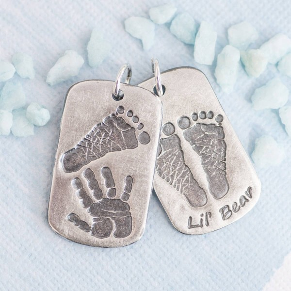 Personalised Handprint Footprint Dog Tag - Crafted By Birthstone Design™