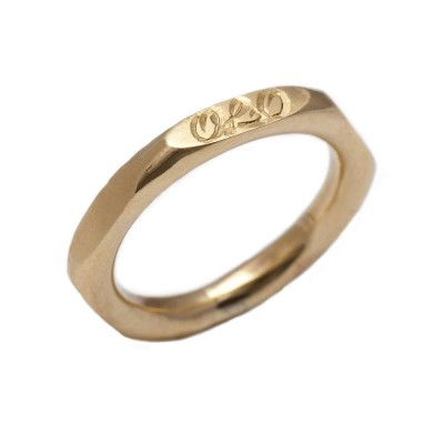 Personalised Hexagonal 18ct Gold Ring - Crafted By Birthstone Design™