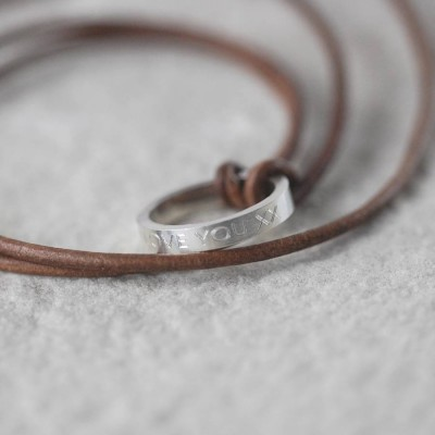 Personalised Leather Ring Necklace - Crafted By Birthstone Design™