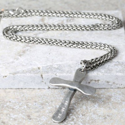 Personalised Mens Antique Cross Necklace - Crafted By Birthstone Design™