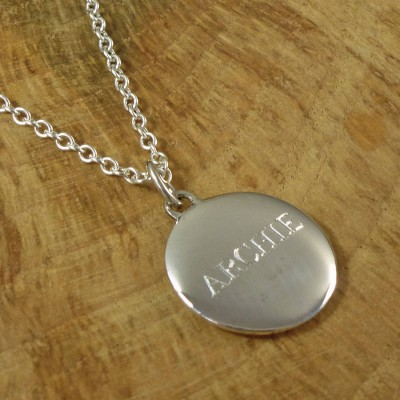Personalised Mens Silver Pebble Necklace - Crafted By Birthstone Design™