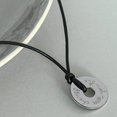Personalised Mens Sterling Silver Open Disc Necklace - Crafted By Birthstone Design™