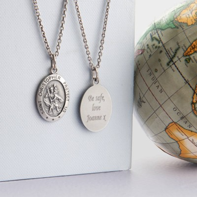 Personalised Mens St Christopher Silver Necklace - Crafted By Birthstone Design™
