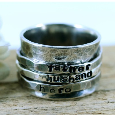 Personalised Mens Sterling Silver Spinner Ring - Crafted By Birthstone Design™