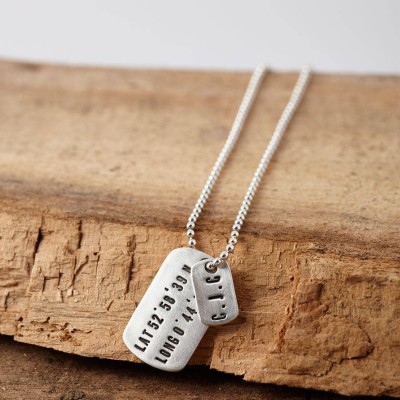 Personalised Silver Location Dog Tag Necklace - Crafted By Birthstone Design™