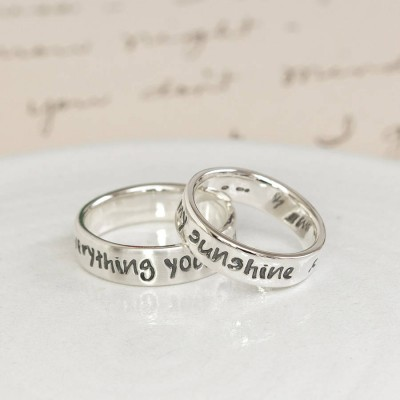Personalised Silver Script Ring - Crafted By Birthstone Design™