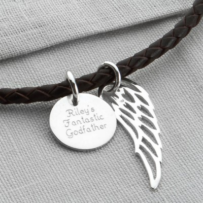 Personalised Silver Wing And Disc Leather Necklet - Crafted By Birthstone Design™