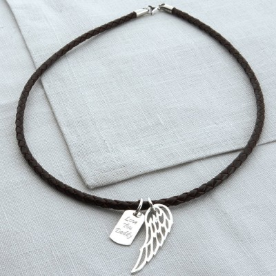 Personalised Silver Wing And Dogtag Leather Necklet - Crafted By Birthstone Design™