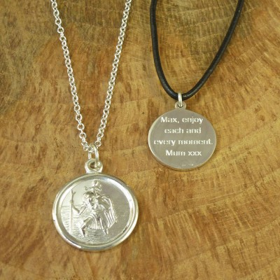 St Christopher Sterling Silver Necklace - Crafted By Birthstone Design™