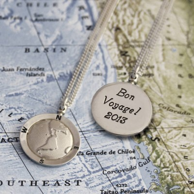 Personalised Globe Travel Necklace - Crafted By Birthstone Design™