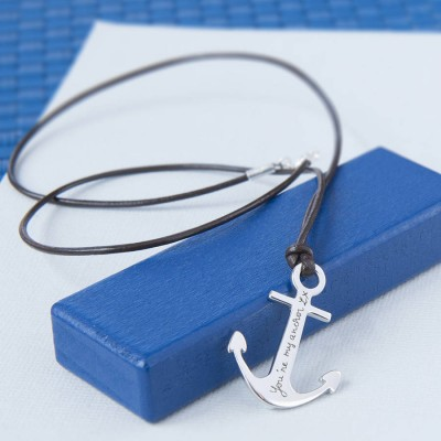 Mens Personalised Sterling Silver Anchor Necklace - Crafted By Birthstone Design™