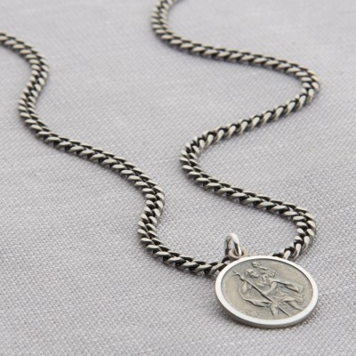 Personalised Sterling Silver St Christopher Necklace - Crafted By Birthstone Design™