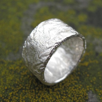Sterling Silver Rocky Outcrop Broad Ring - Crafted By Birthstone Design™