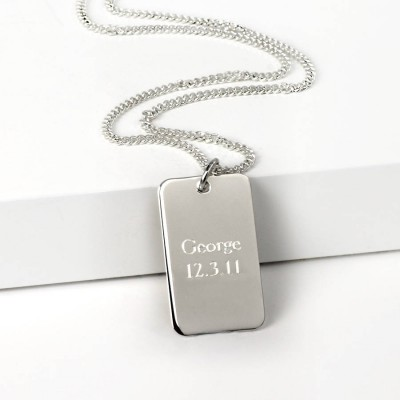Silver Dog Tag Necklace - Crafted By Birthstone Design™