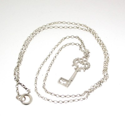 Silver Heritage Key Pendant With 18 Silver Chain - Crafted By Birthstone Design™