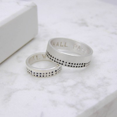 Silver Personalised Cubes His And Hers Rings - Crafted By Birthstone Design™