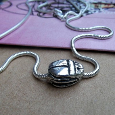 Silver Scarab Beetle Necklace - Crafted By Birthstone Design™