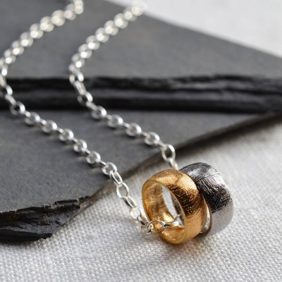 Small Meteorite Rings Necklace - Crafted By Birthstone Design™