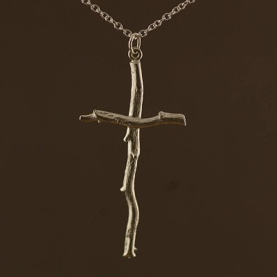 Silver Rose Root Cross Necklace - Crafted By Birthstone Design™