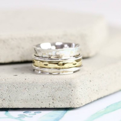 Sterling Silver And Gold Hammered Effect Spinning Ring - Crafted By Birthstone Design™