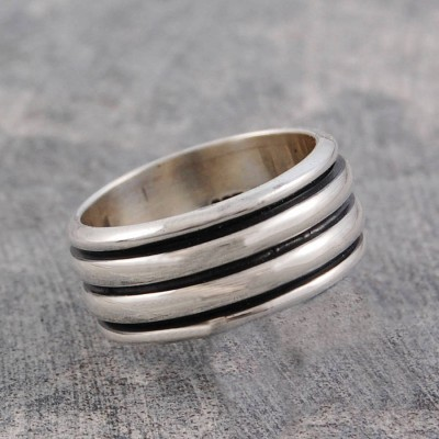 Mens Sterling Silver Spinning Ring - Crafted By Birthstone Design™