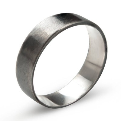 Sterling Silver Oxidized Flat Wedding Band Ring - Crafted By Birthstone Design™