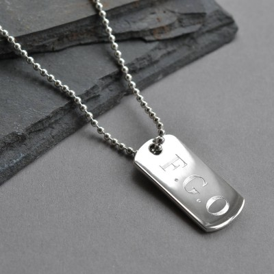 Sterling Silver Solid Dog Tag Necklace - Crafted By Birthstone Design™