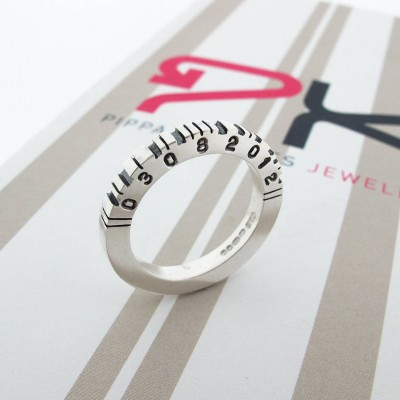 Thick Square Silver Barcode Ring - Crafted By Birthstone Design™