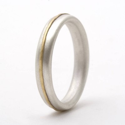 Thin Sterling Silver Ring With 18ct Yellow Gold Detail - Crafted By Birthstone Design™