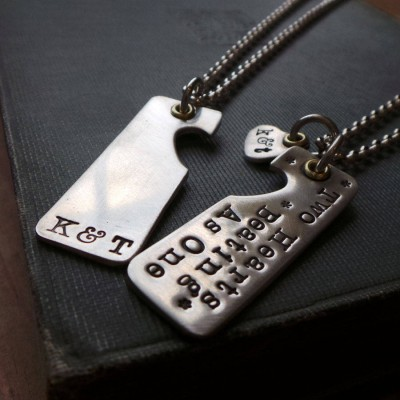 Two Hearts Beat As One Couples Necklaces - Crafted By Birthstone Design™