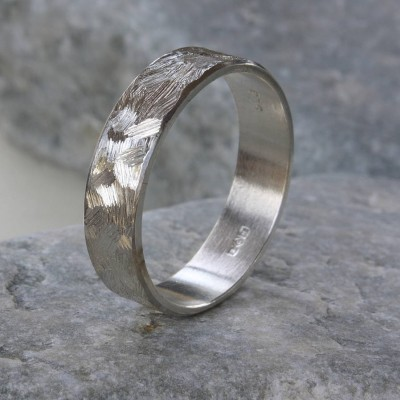 Handmade Unisex Textured Silver Band Ring - Crafted By Birthstone Design™