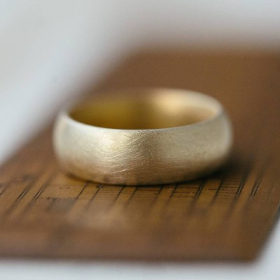 Wide Gents Soft Pebble Wedding Ring 18ct Gold - Crafted By Birthstone Design™